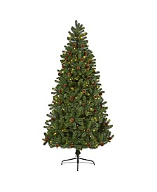 Rocky Mountain Spruce Artificial Christmas Tree with Pinecones and 400 Clear LED Lights