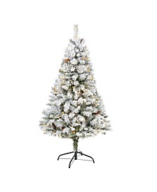 Flocked River Mountain Pine Artificial Christmas Tree with Pinecones and 150 Clear LED Lights