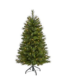 West Virginia Mountain Pine Artificial Christmas Tree with 100 Clear Lights and 322 Bendable Branches