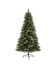 Snowed French Alps Mountain Pine Artificial Christmas Tree with 833 Bendable Branches and Pine Cones