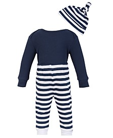 Chick Pea Baby Boy 3PC Thermal Long sleeve Navy Blue Bodysuit and Blue and White Striped Pant and Hat