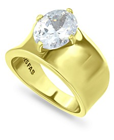 Cubic Zirconia Prong Set Oval Stone 18K Gold Plate Ring