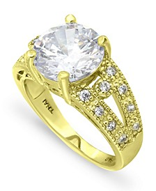 Cubic Zirconia Round Center Stone 18K Gold Plate Ring
