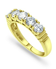 Cubic Zirconia Round 5 Stone 18K Gold Plate Ring