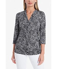 Women's Leopard Print Split V-neck Top
