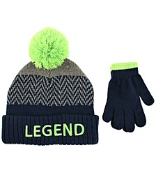 Toddler Boys 2 Piece Legend Pom Pom Hat with Matching Gloves Set