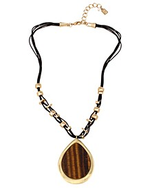 Tiger Eye Pendant Leather Necklace