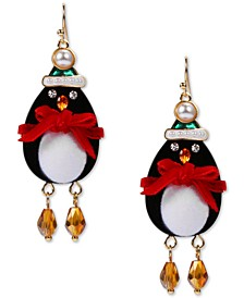 INC Gold-Tone Crystal & Imitation Pearl Penguin Drop Earrings, Created for Macy's