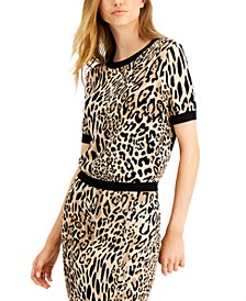 Animal-Print Jacquard Sweater, Created for Macy's