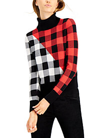 Bar III Mixed Buffalo-Check Mock-Neck Sweater, Created for Macy's