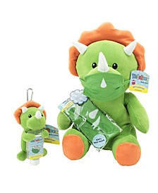 WelloBeez Plush Mask Mate Masked Dino with Additional Child's Face Mask, and Clip  Clean Plush Keychain with Empty, Refillable Sanitizer Bottle
