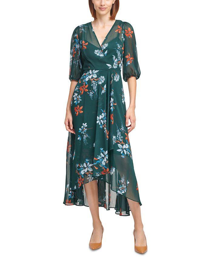 Calvin Klein - Floral-Print Balloon-Sleeve Maxi Dress