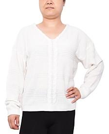 Trendy Plus Size Lace-Up Mixed-Stitch Sweater