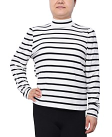 Trendy Plus Size Printed Mock-Neck Top