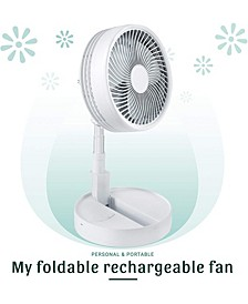 2-in-1 Adjustable Height Unique Foldaway Portable My Foldaway Rechargeable Floor Table Fan