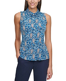 Paisley-Print Sleeveless Shirt