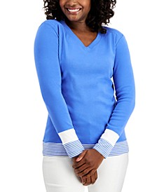 Colorblocked V-Neck Top, Created for Macy's
