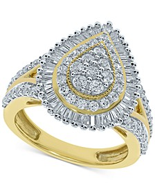 Diamond Teardrop Baguette Halo Cluster Ring (1-1/2 ct. t.w.) in 10k Gold
