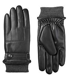 Men's Sleekheat Belted Faux Nappa Touchscreen Gloves
