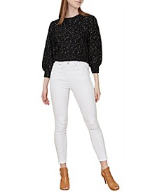 Women's Sparkle Puff Sleeve Pullover Sweater (57% Off) -- Comparable Value $69