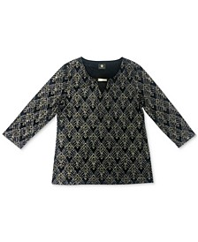 Plus Size Beaded Jacquard Top, Created for Macy's