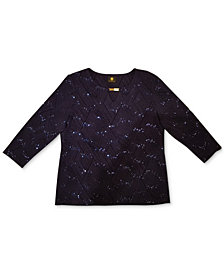 JM Collection Plus Size Disco Dot Jacquard Top, Created for Macy's