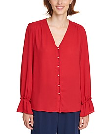 Imitation-Pearl-Button Blouse