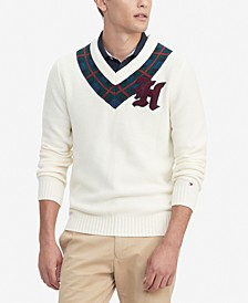 Men's Leighton Classic-Fit Plaid V-Neck Cricket Sweater