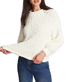 Mock-Neck Poodle-Textured Sweater