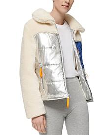 Mixed-Media Fleece Puffer Coat