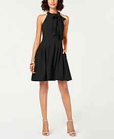Bow-Neck Fit & Flare Dress