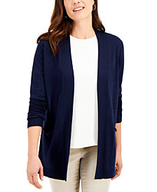 Karen Scott Chevron Open-Front Cardigan, Created for Macy's