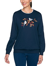 Petite Bird-Embroidered Studded Sweatshirt