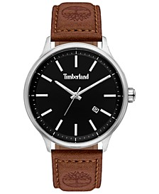 Men's Brown Leather Strap Watch 45mm