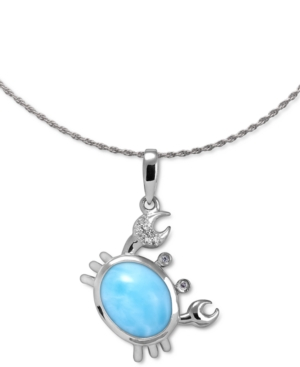 """Larimar & White Sapphire (1/20 ct. t.w.) Crab 21"""" Pendant Necklace in Sterling Silver"""