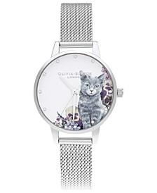 Women's Ilustrated Animals Stainless Steel Mesh Bracelet Watch 30mm