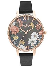 Women's Sparkle Floral Black Leather Strap Watch 38mm