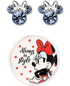Minnie Mouse Clear Crystal Stud in Sterling Silver with Bonus Trinket Dish