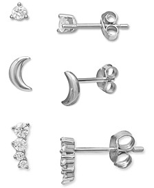 3-Pc. Set Cubic Zirconia Crawler & Stud Earrings in Sterling Silver, Created for Macy's