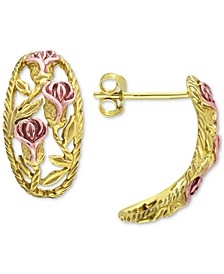 Flower Curved Drop Earrings in 18k Gold- & 18k Rose Gold-Plated Sterling Silver, Created for Macy's
