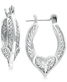 Filigree Heart Hoop Earrings in Sterling Silver, Created for Macy's