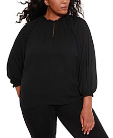 Black Label Women's Plus Size Blouson Chiffon Top