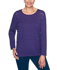 Petite Mixed-Knit Sweater