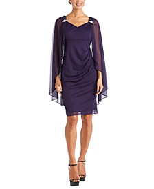 R&M Richards Embellished Cape-Overlay Dress