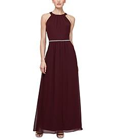 Embellished-Waist Halter Gown