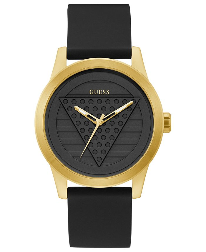 GUESS - Men's Black Silicone Strap Watch 44mm