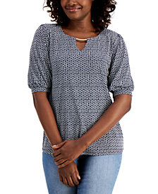 JM Collection Puff-Sleeve Keyhole Top, Created for Macy's