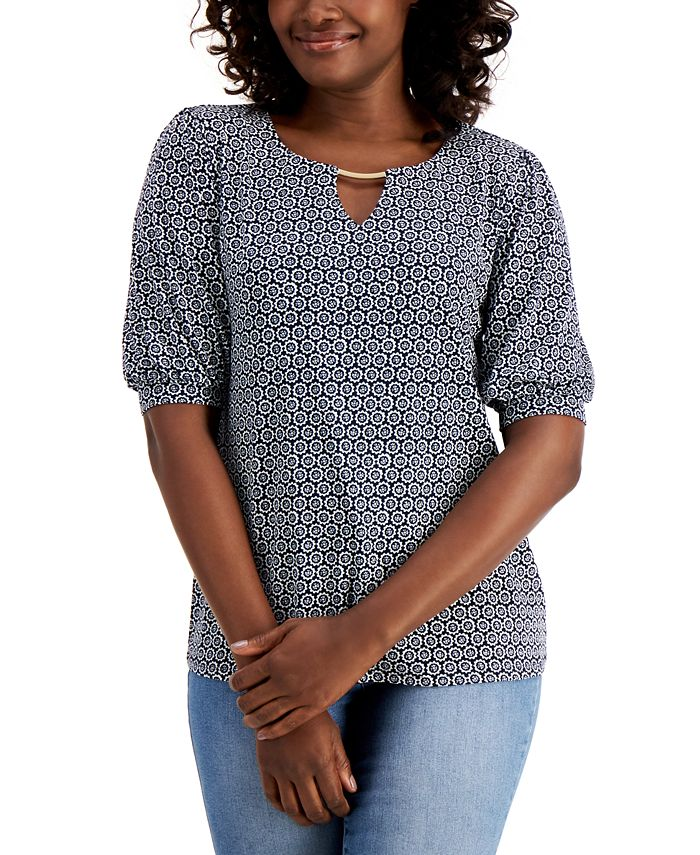 JM Collection - Puff-Sleeve Keyhole Top