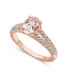 Gemstone Bridal Morganite (1 ct. t.w.) & Diamond (1/3 ct. t.w.) Engagement Ring in 14k Rose Gold