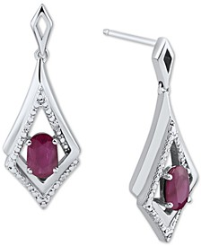 Emerald (7/8 ct. t.w.) & Diamond Accent Drop Earrings in Sterling Silver (Also in Sapphire & Ruby)